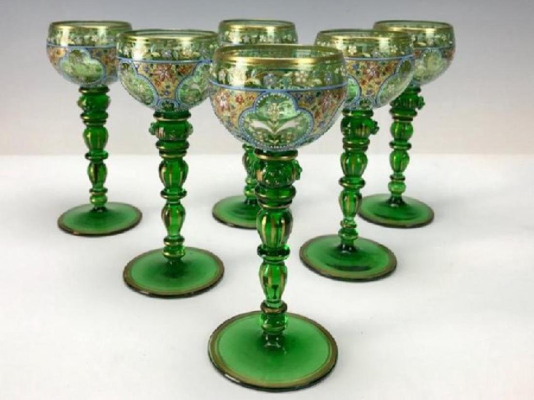 SET OF 6 ENAMELLED MOSER WINE GLASSES