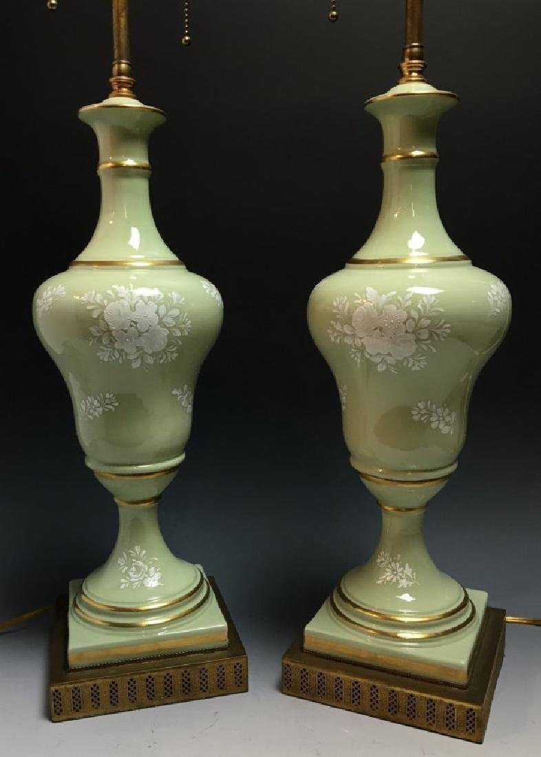 A PAIR OF FRENCH PATE SUR PATE PORCELAIN LAMPS