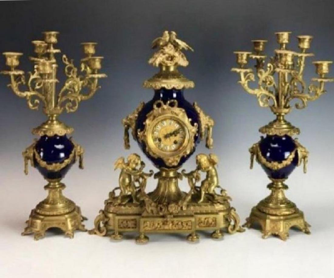 19TH C. FRENCH BRONZE AND PORCELAIN CLOCK SET