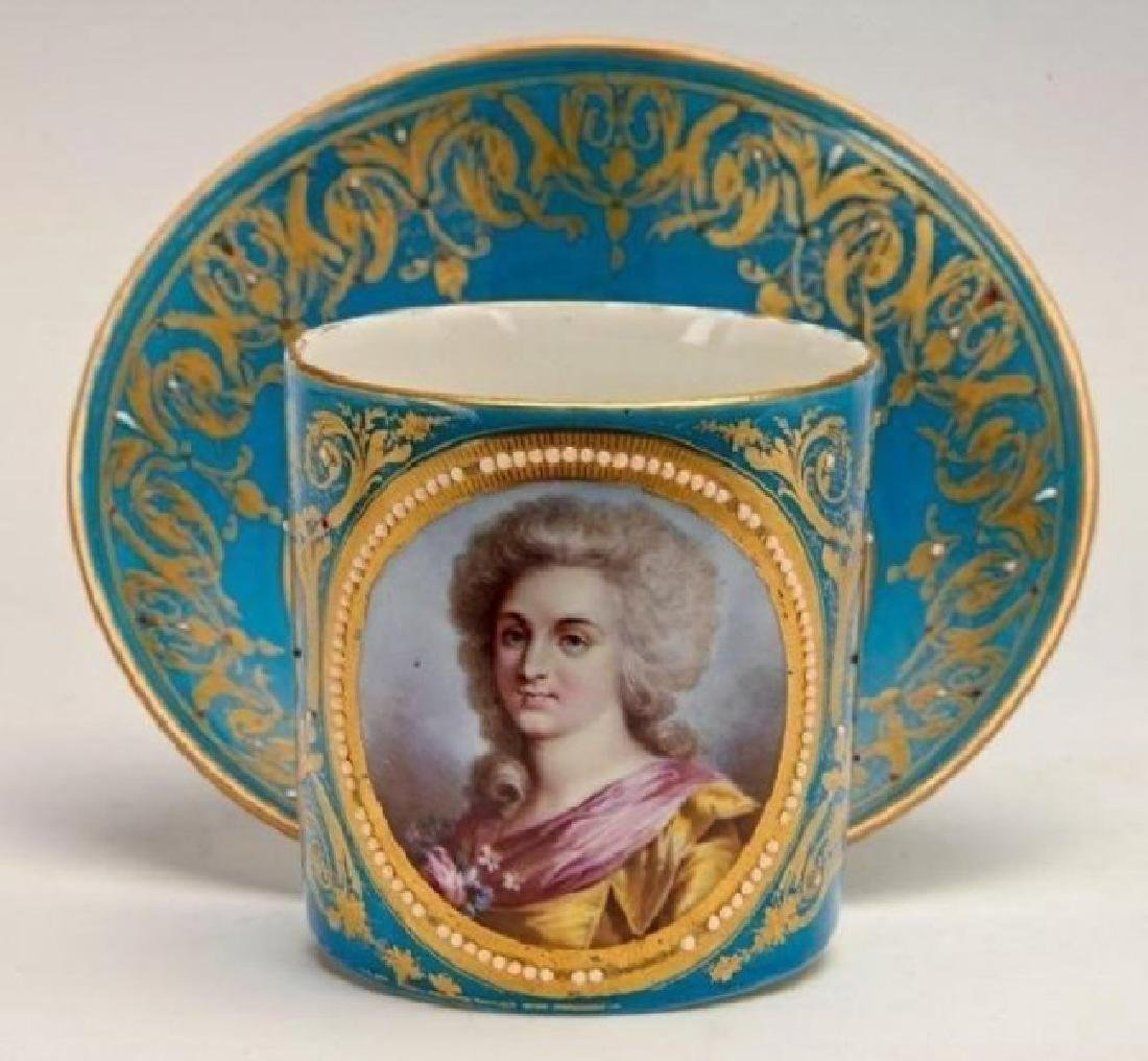 JEWELLED SEVRES PORCELAIN CUP AND SAUCER