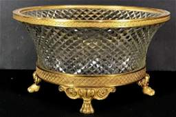 EMPIRE STYLE ORMOLU MOUNTED BACCARAT GLASS BOWL