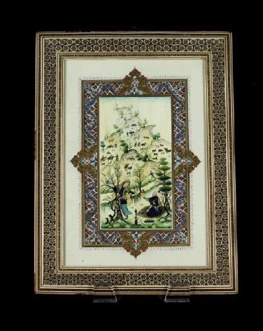 A PERSIAN HAND PAINTED MINATURE SIGNED EMAMI