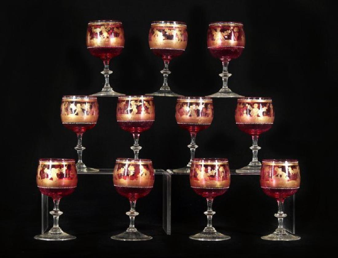 11 VENITIAN ENAMELLED WINE GLASSES