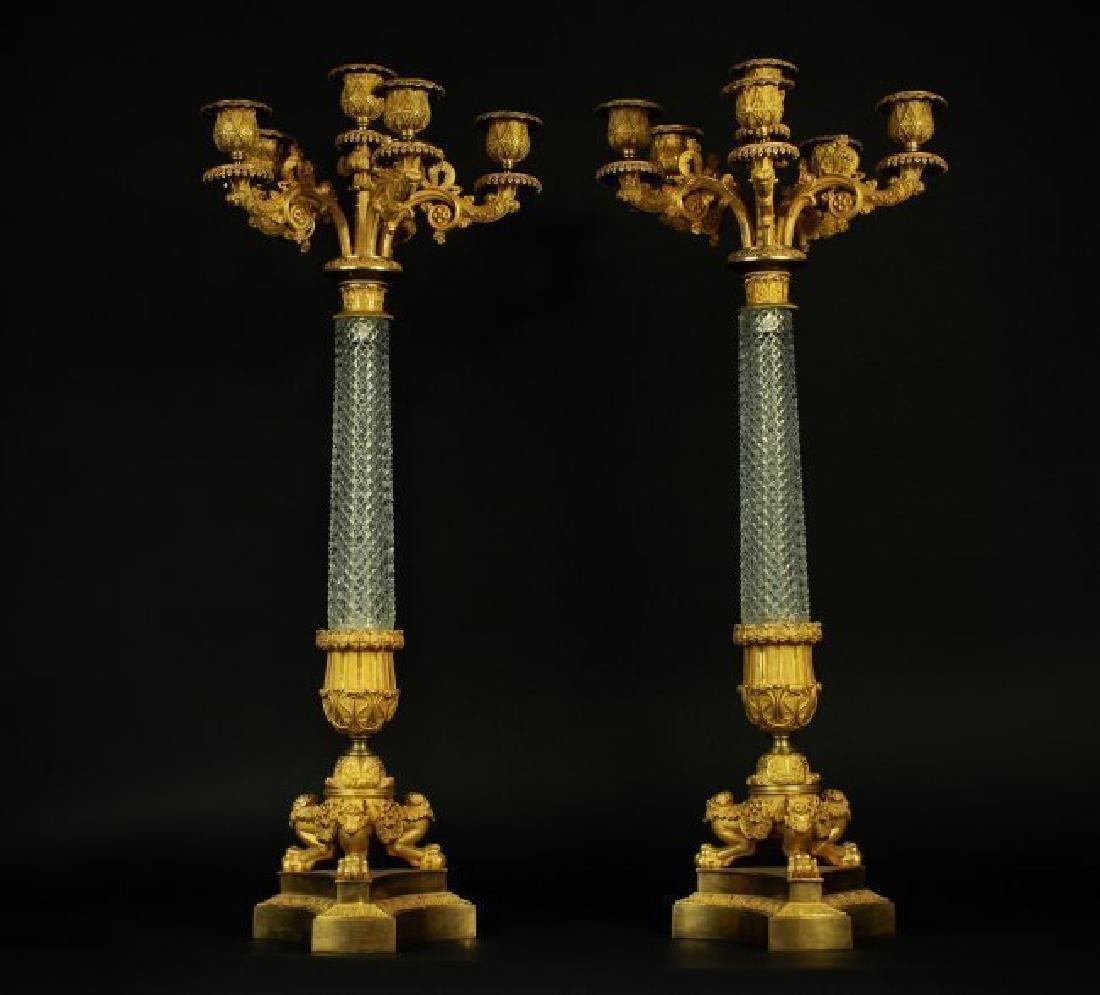 LARGE PAIR OF EMPIRE BACCARAT CRYSTAL ORMOLU CANDELABRA