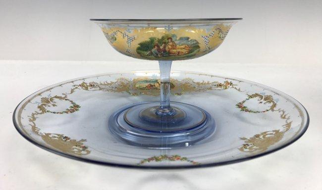 ANTIQUE ENAMELLED VENITIAN GLASS SHERBERTS & PLATE
