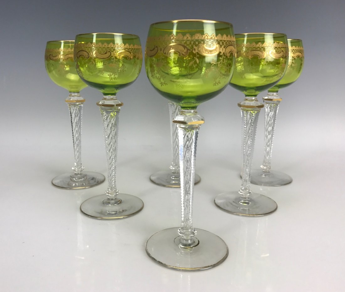 SET OF 6 GILT SAINT LOUIS WINE GLASSES