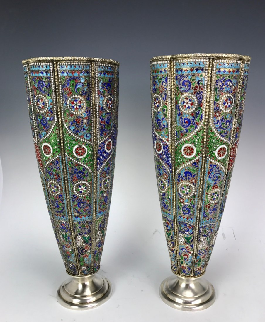 LARGE PAIR OF RUSSIAN / PERSIAN SILVER AND ENAMEL VASES