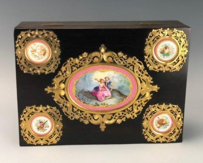 SEVRES AND ORMOLU MOUNTED JEWLRY BOX CIRCA 1900