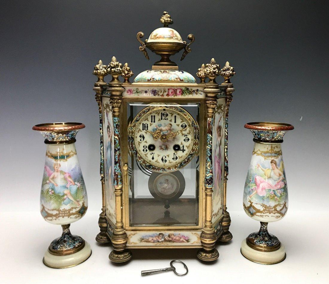 19TH C. FRENCH CHAMPLEVE ENAMEL CLOCK SET