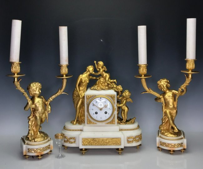 A GOOD 19TH C. DORE BRONZE AND MARBLE CLOCK SET