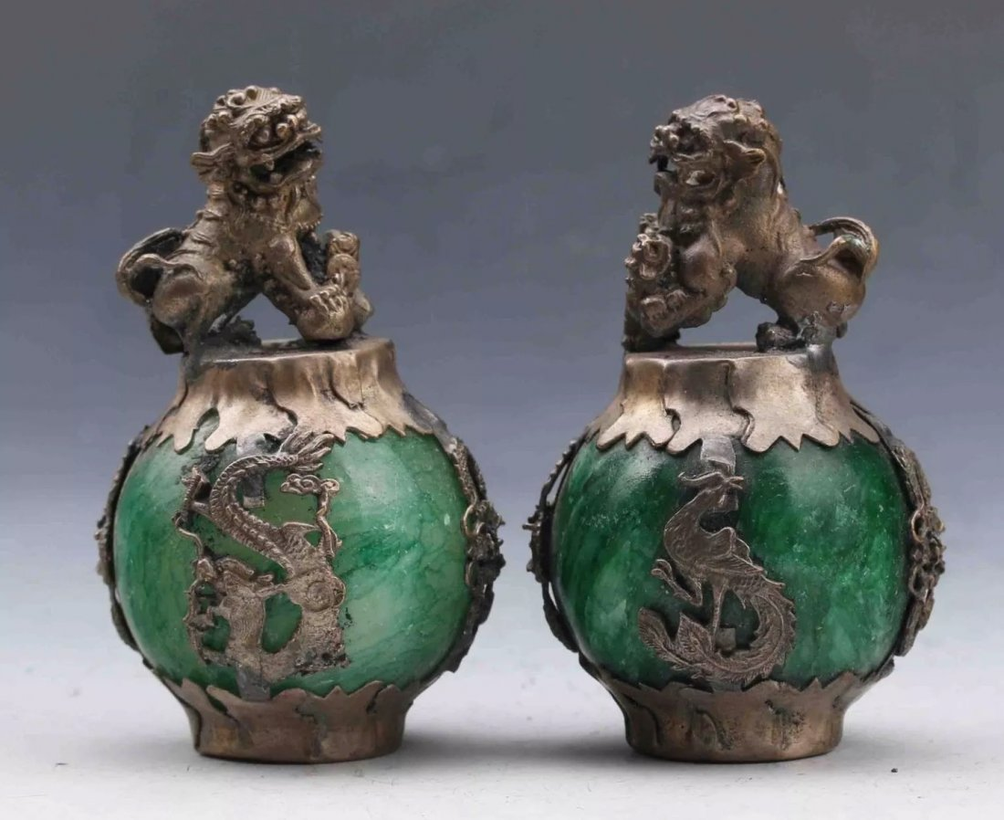 A PAIR OF CHINESE CLAD SILVER AND JADE FOODOGS