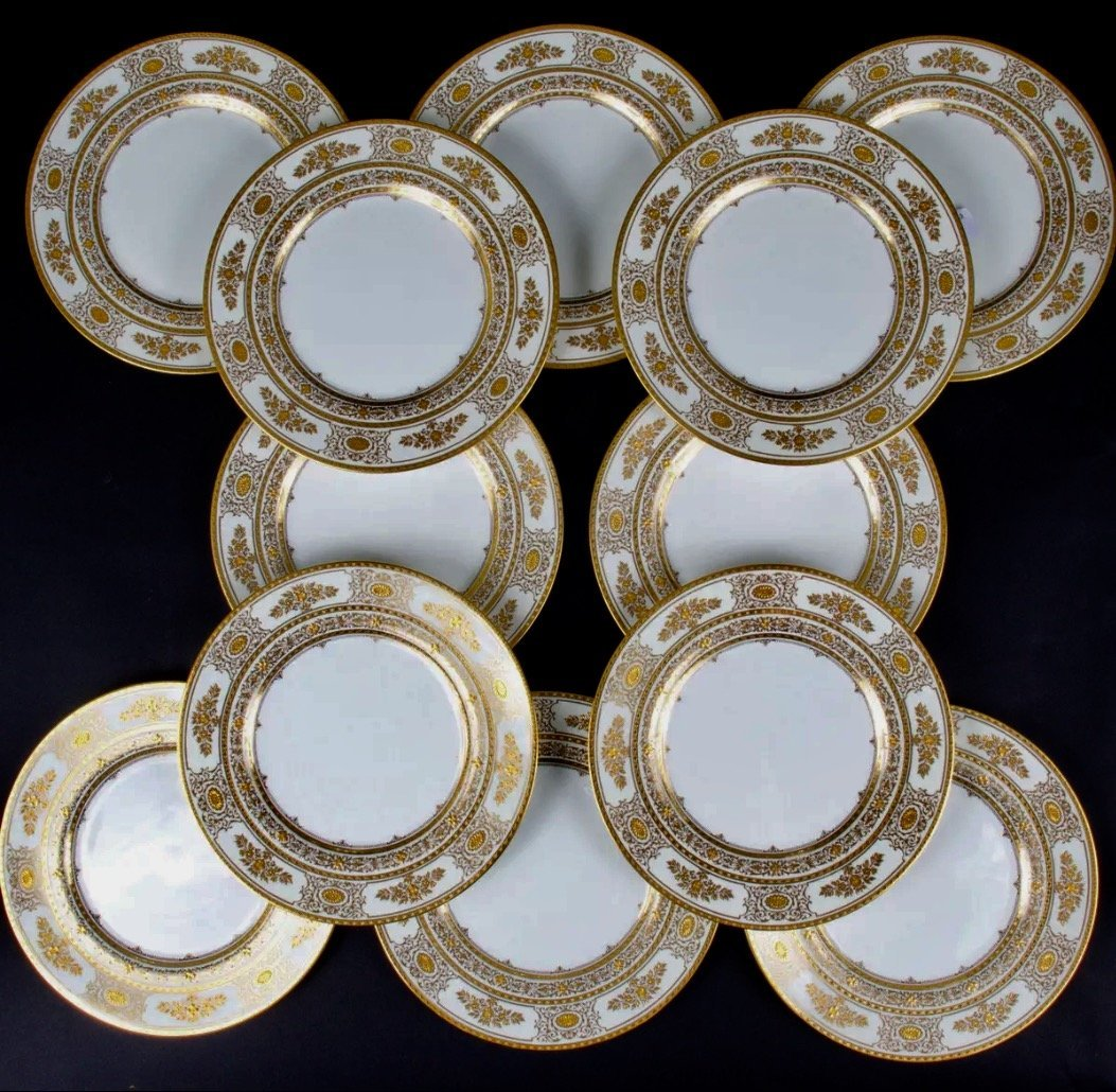 SET OF 12 MINTON DINNER PLATES RETAILED BY TIFFANY & CO