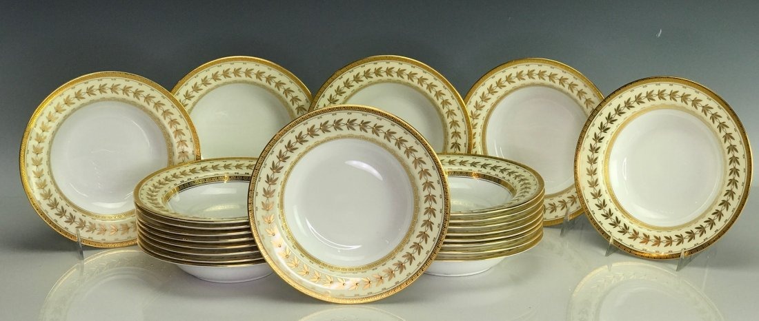 SET OF 22 MINTON SOUP PLATES RETAILED BY TIFFANY