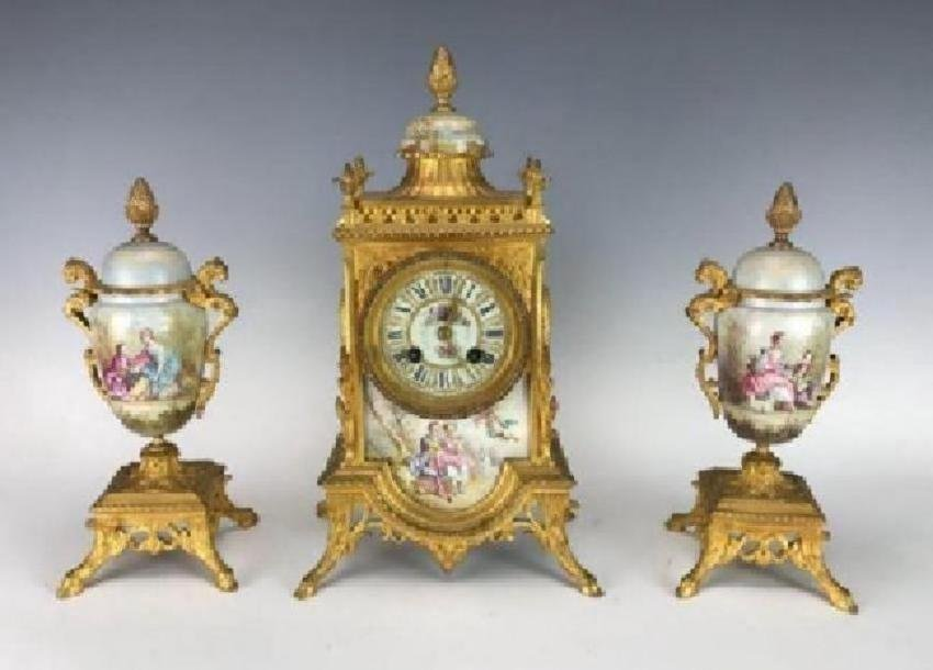 19TH C. DORE BRONZE AND SEVRES PORCELAIN CLOCK SET