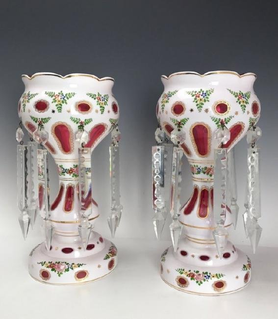 A PAIR OF BOHEMIAN GLASS LUSTERS
