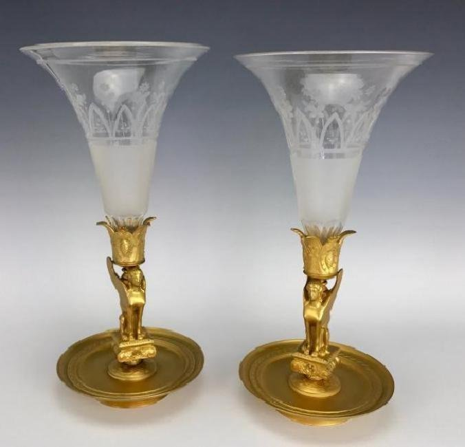 PAIR OF DORE BRONZE AND BACCARAT CRYSTAL VASES