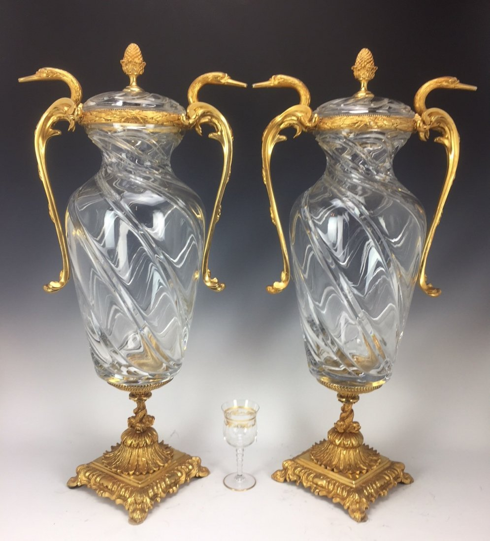 LARGE PAIR OF SIGNED ORMOLU MOUNTED BACCARAT GLASS VASE