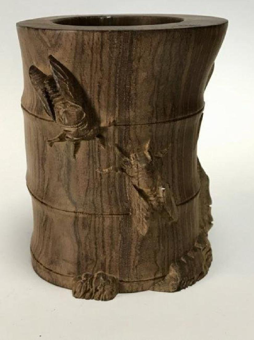ANTIQUE CHINESE CARVED WOOD BRUSH POT