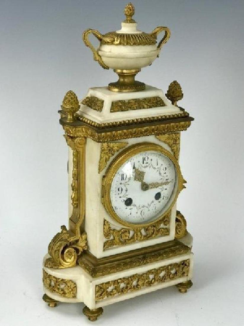19TH C. FRENCH ORMOLU MOUNTED MARBLE CLOCK