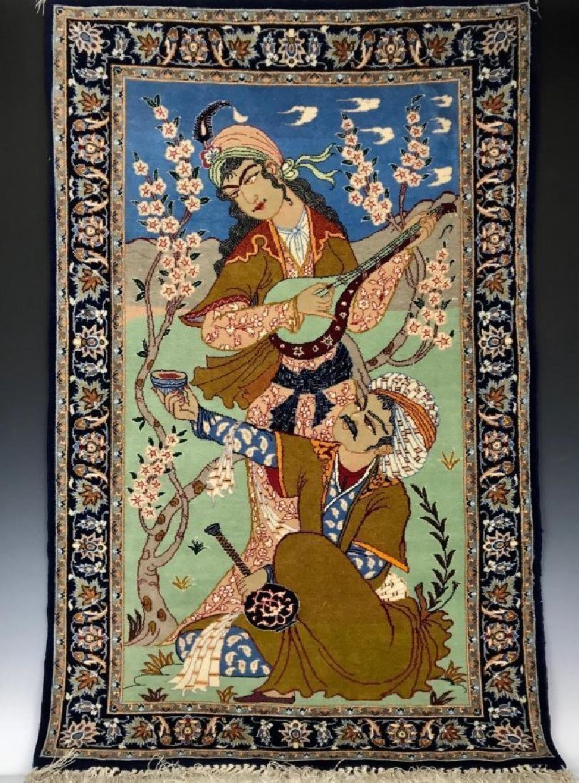 A FINELY WOVEN ISPHAHAN PICTORIAL RUG