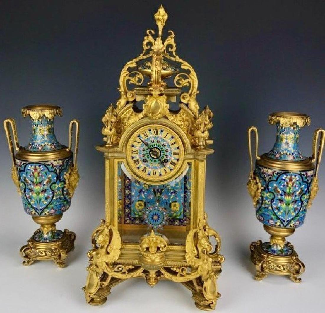 19TH C. FRENCH CHAMPLEVE ENAMEL JAPONAISM CLOCK SET
