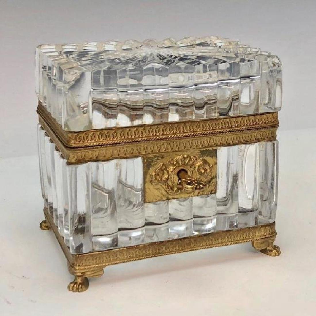 19TH C. DORE BRONZE AND BACCARAT JEWLRY BOX
