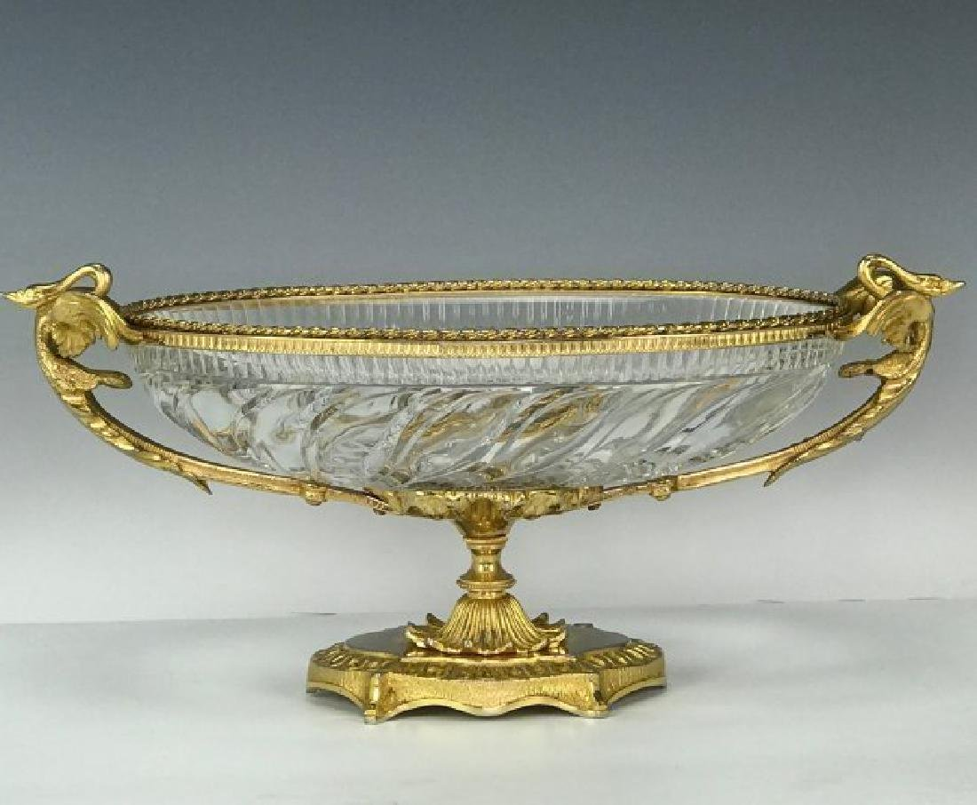 A LARGE DORE BRONZE MOUNTED BACCARAT GLASS CENTERPIECE