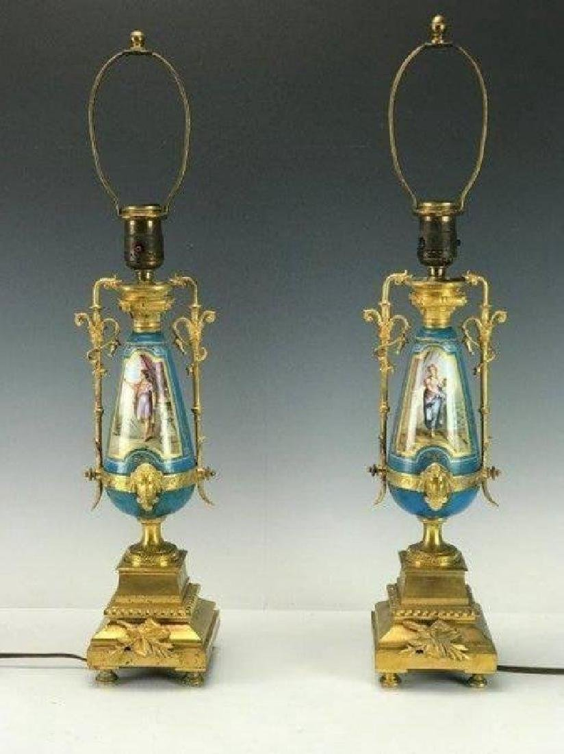 PAIR OF 19TH C. DORE BRONZE MOUNTED SEVRES LAMPS