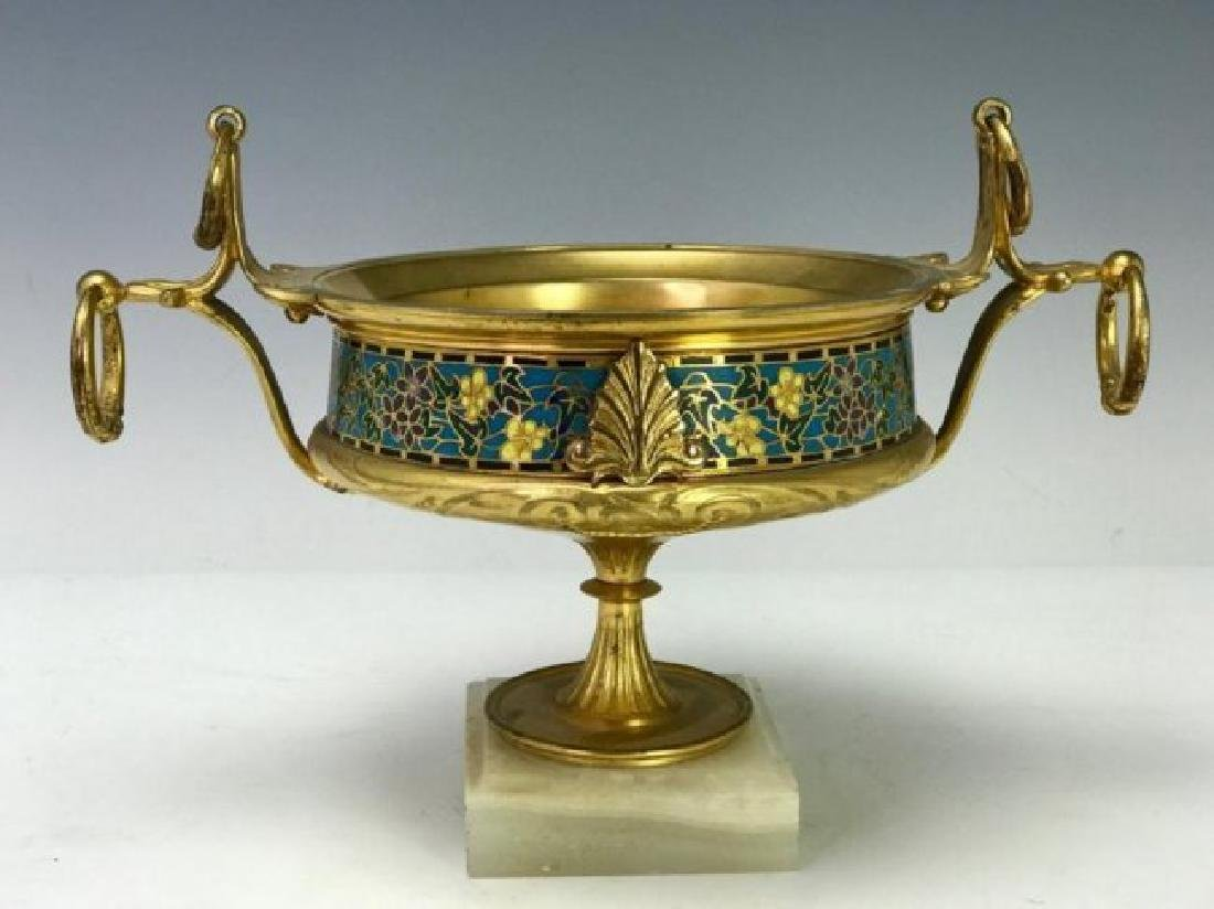 19TH C. FRENCH CHAMPLEVE ENAMEL VASE BARBEDIENNE