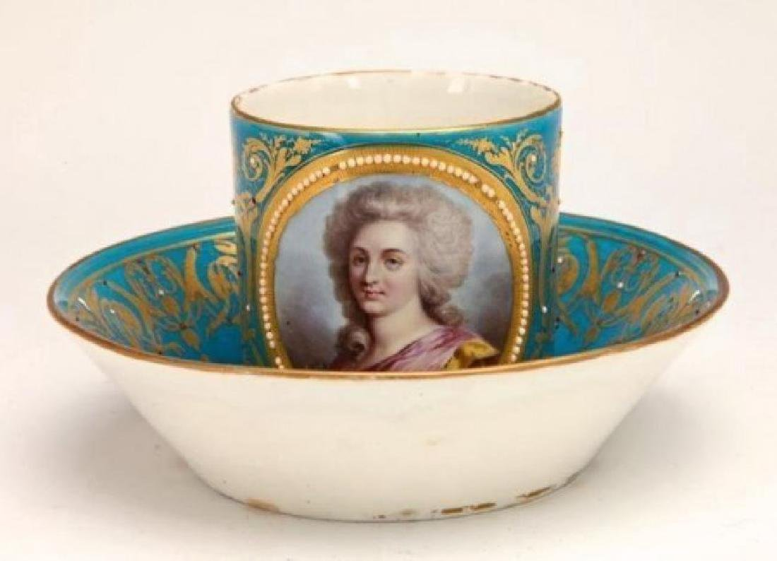 JEWELLED SEVRES PORCELAIN CUP AND SAUCER - 2