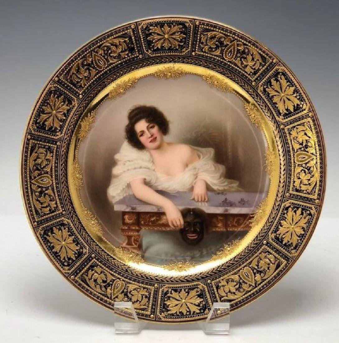 A SUPERB ROYAL VIENNA STYLE PORTRAIT PLATE CIRCA 1900