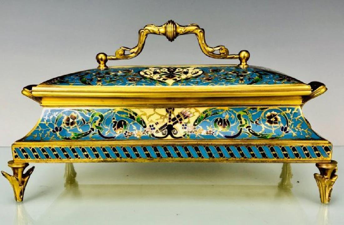 A LARGE 19TH C. CHAMPLEVE ENAMEL JEWLRY BOX