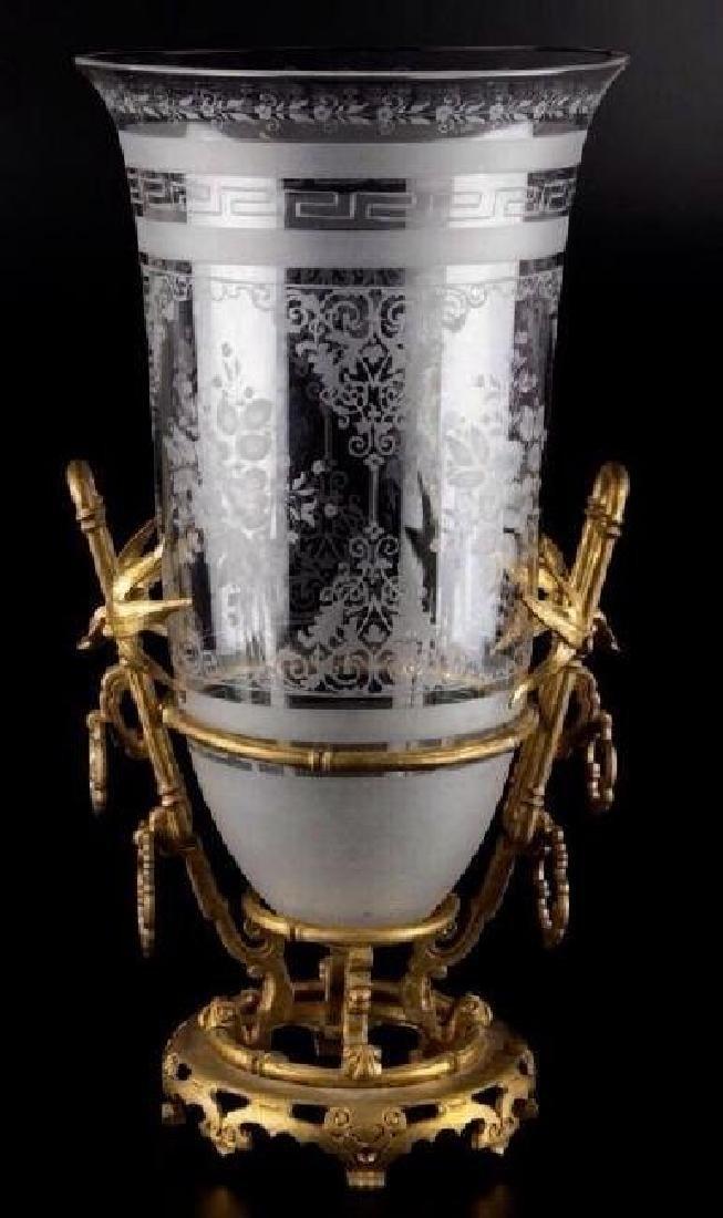 DORE BRONZE AND ETCHED BACCARAT GLASS JAPONAISM VASE