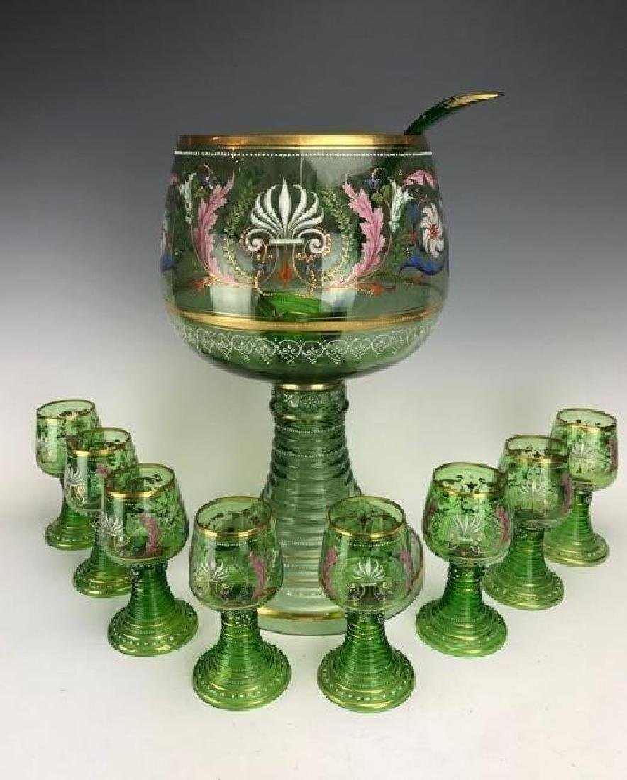A MAGNIFICENT 19TH C. ENAMELLED MOSER PUNCH BOWL SET