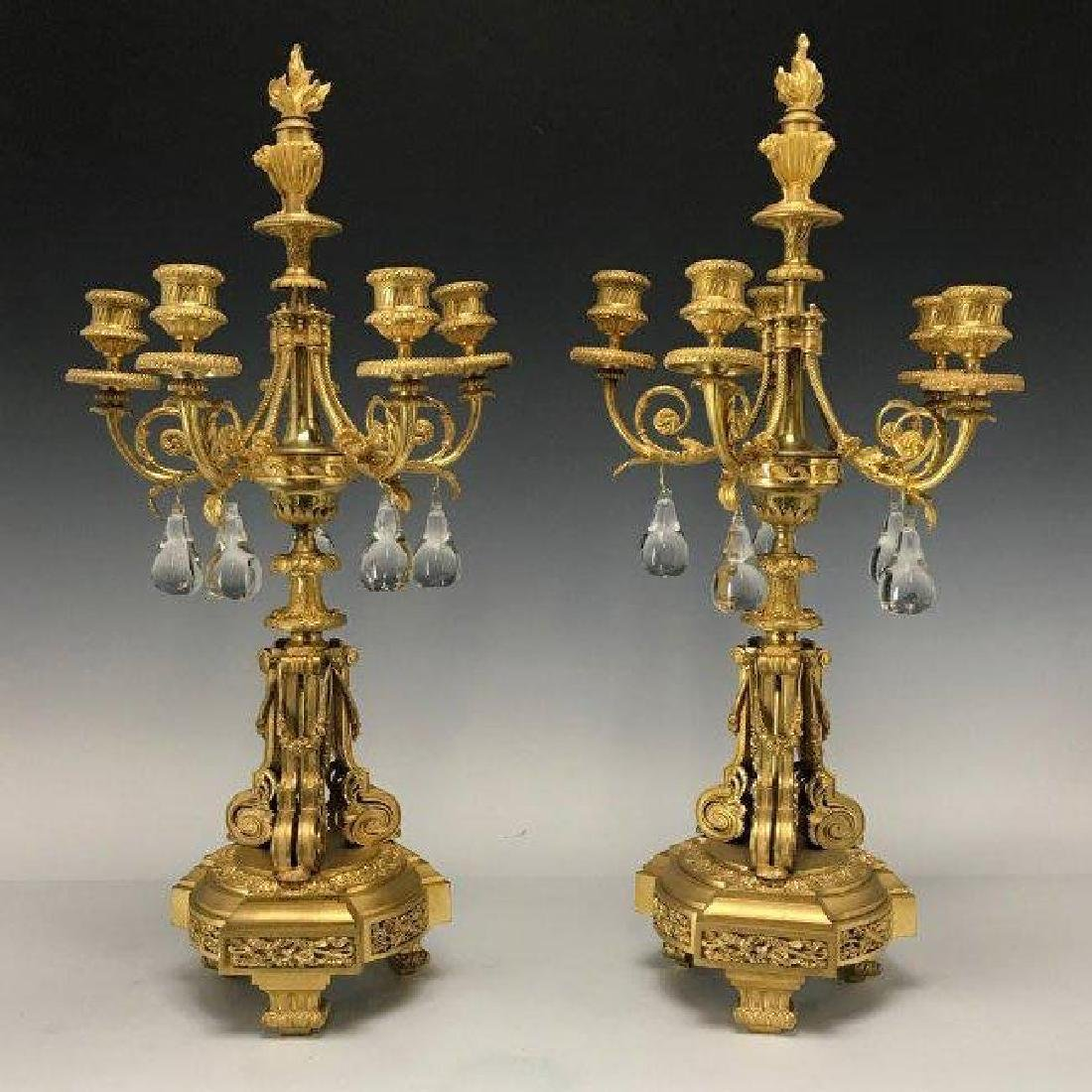 PAIR OF DORE BRONZE AND BACCARAT CANDELABRA
