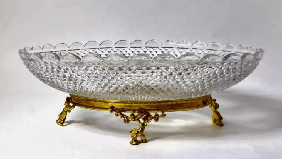 A JAPONAISM DORE BRONZE AND BACCARAT CRYSTAL BOWL