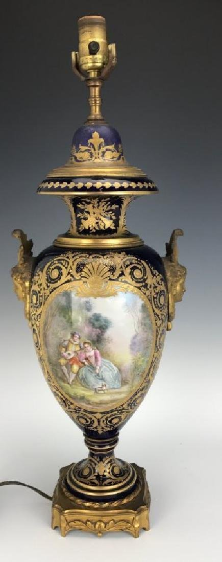 A LARGE 19TH C. SEVRES PORCELAIN LAMP