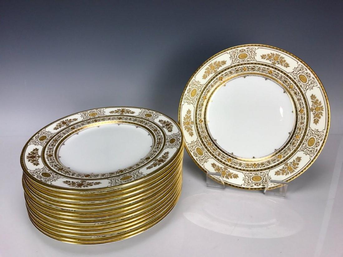 SET OF 14 MINTON GOLD DECORATED PORCELAIN DINNER PLATES