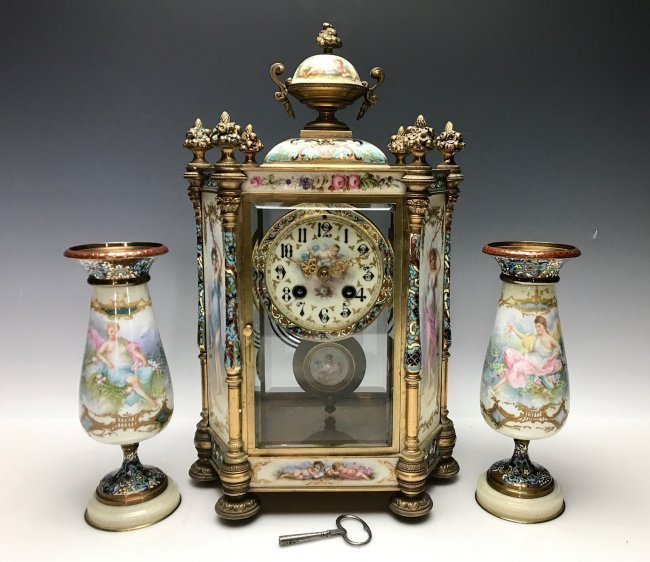 19TH C. FRENCH CHAMPLEVE ENAMEL CLOCK SET