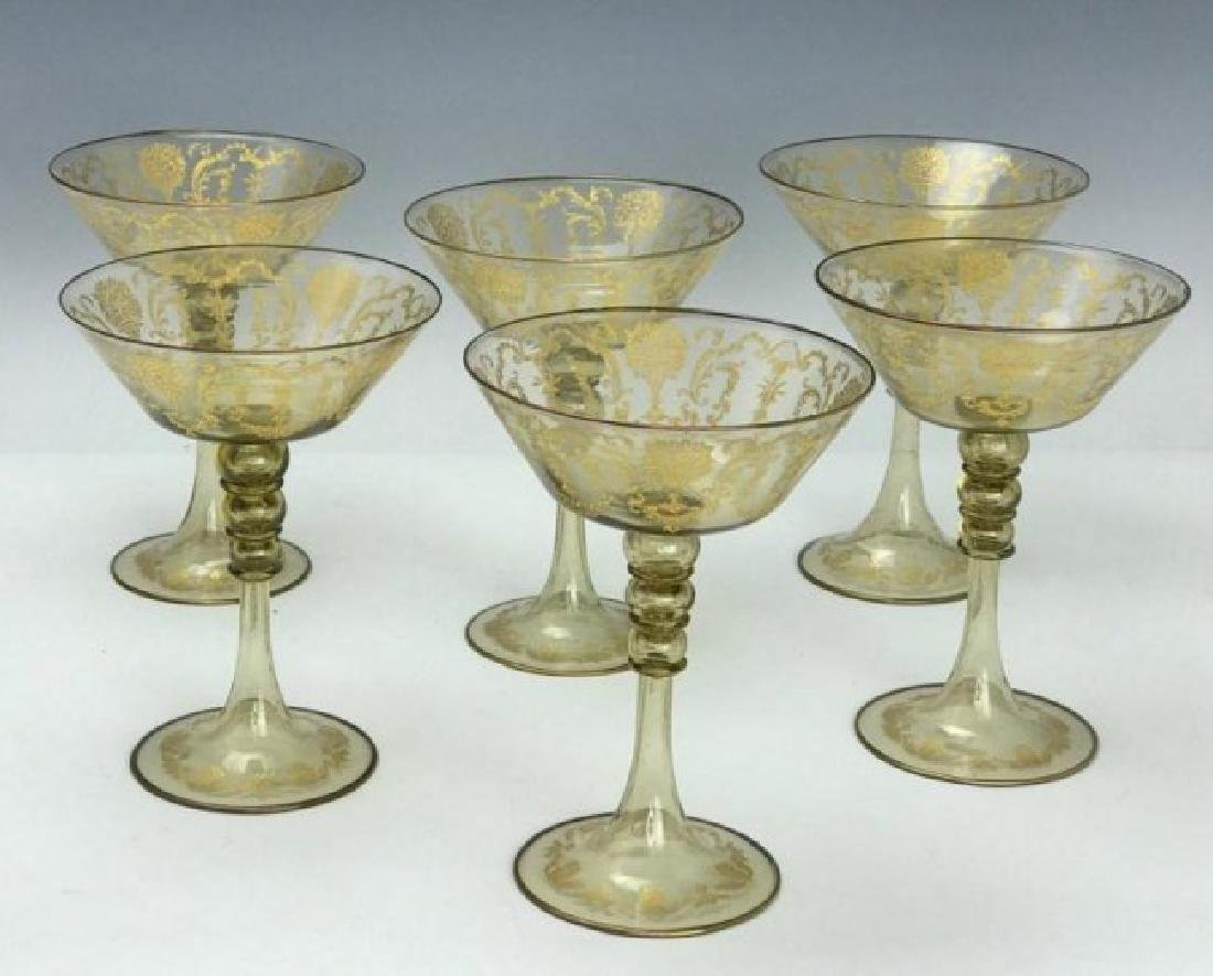 SET OF 6 MURANO GLASS CHAMPAGNE GLASSES