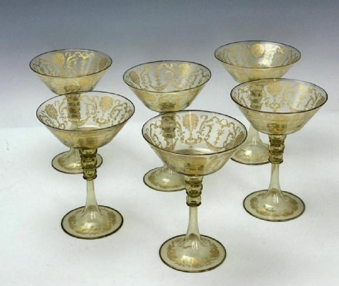 SET OF 6 MURANO GLASS CHAMPAGNE GLASSES - 2