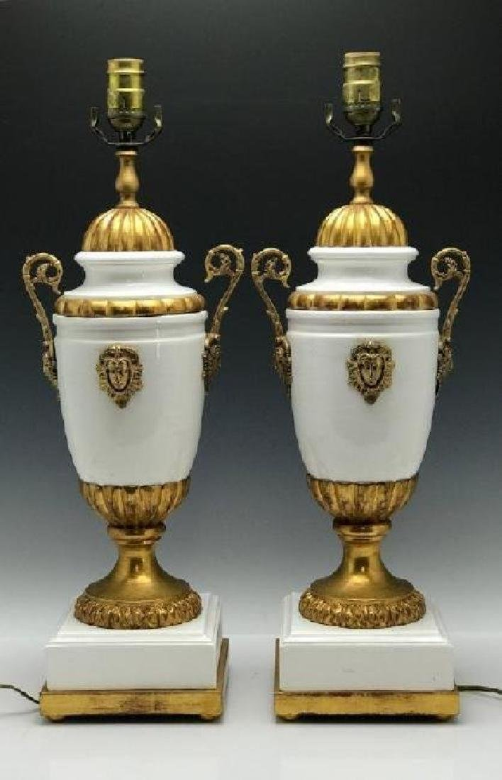 A PAIR OF GILT LAMPS