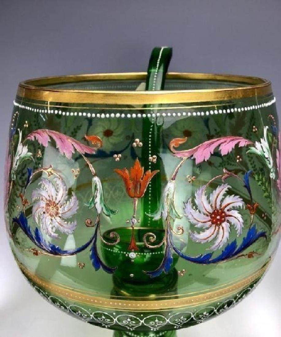 A MAGNIFICENT 19TH C. ENAMELLED MOSER PUNCH BOWL SET - 4