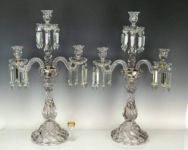 A LARGE PAIR OF BACCARAT CANDELABRA