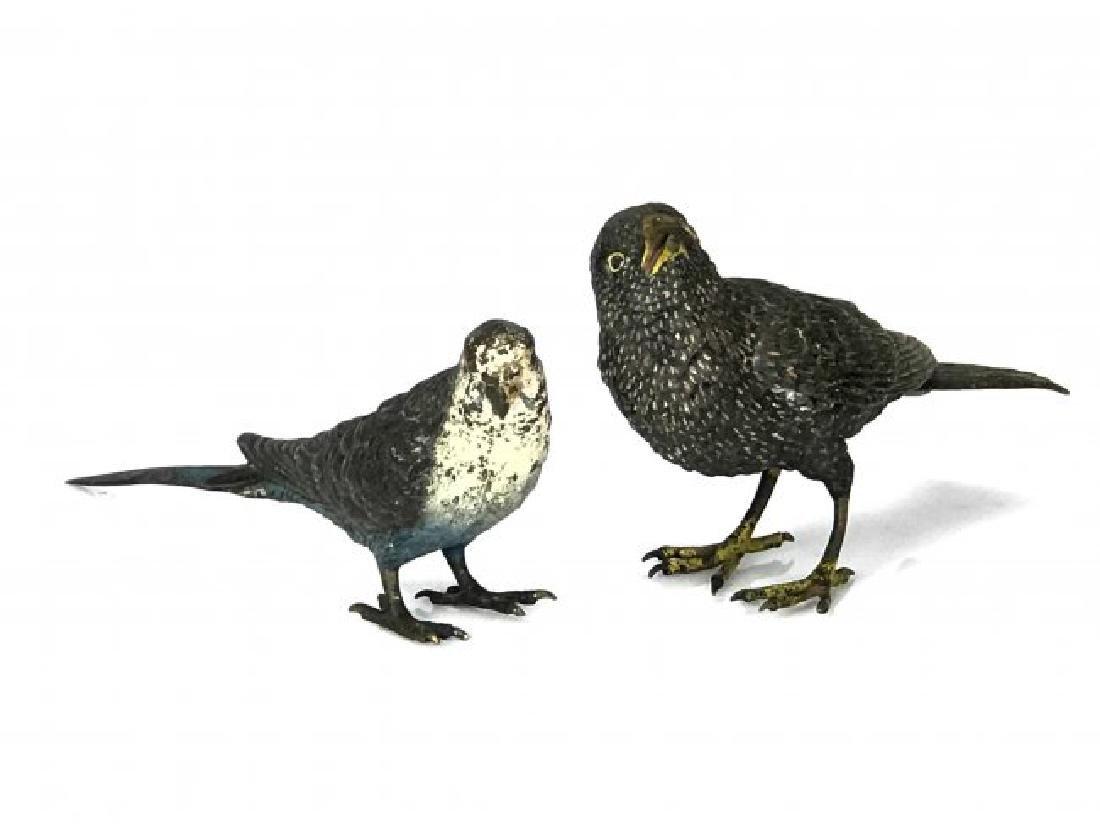 2 COLD PAINTED AUSTRIAN BRONZE BIRDS CIRCA 1900