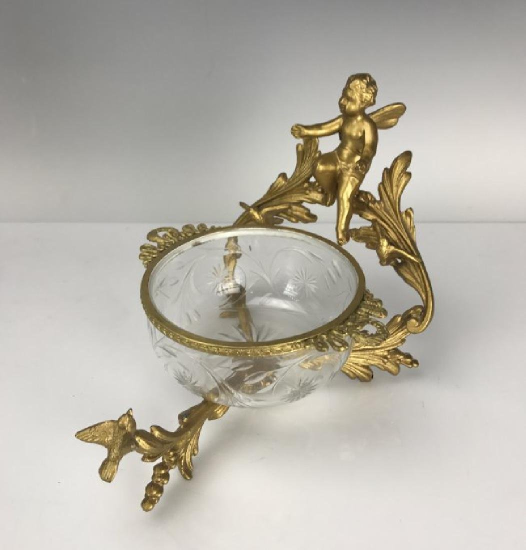 DORE BRONZE AND ETCHED BACCARAT GLASS DISH
