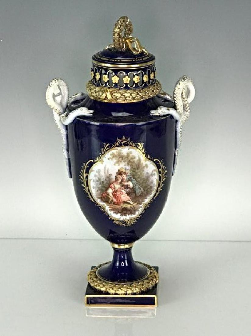 19TH C. MEISSEN VASE AND COVER