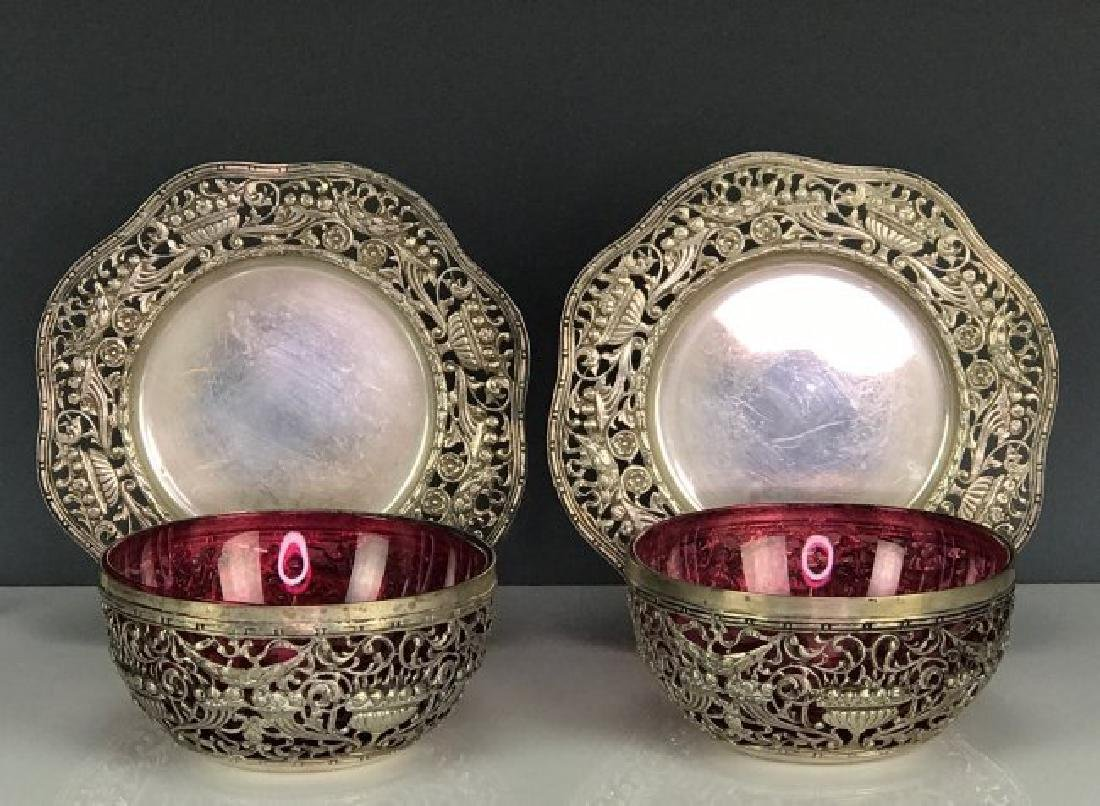 PAIR OF SILVER FINGER BOWLS AND UNDER PLATES