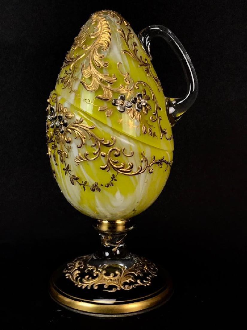 ENAMELED AND GILT MOSER GLASS EGG