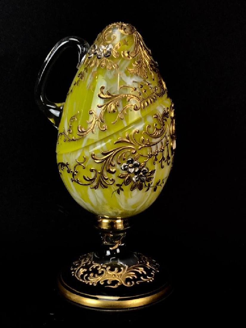 ENAMELED AND GILT MOSER GLASS EGG - 2